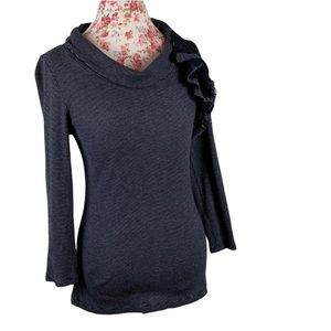Anthropologie Daletta Cowl & Lace Long Sleeve Top